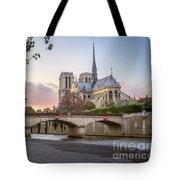 Last Light On Notre Dame De Paris Tote Bag
