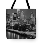 Late Night Philly Grayscale Tote Bag