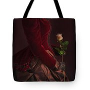 Late Victorian Woman In A Crimson Velvet Jacket And Dress Holdin Tote Bag