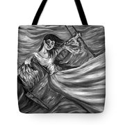 Laughter On The Swings Black And White Tote Bag