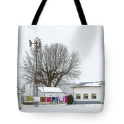 Laundry Drying In Winter Tote Bag