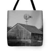 Laurel Road Barn In Black And White Tote Bag
