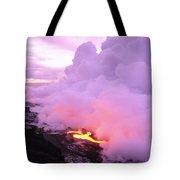 Lava Enters Ocean Tote Bag