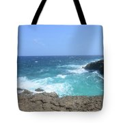 Lava Rock Cliffs And Crashing Ocean Waves In Aruba Tote Bag