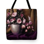 Lavander And Pink Flowers In Silver Vase Tote Bag