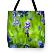 Lavander Flowers With Bee In Lavender Field Macro Artmif Tote Bag