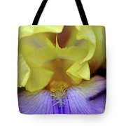 Lavender And Yellow Iris Heart Tote Bag