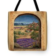 Lavender Fields And Village Of Provence Tote Bag