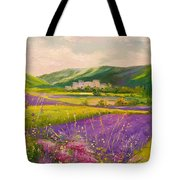 Lavender Fields Landscape Tote Bag