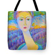 Lavender Lady Art Deco, Decorative Woman Painting, Woman Figure Print For Sale. Pretty Girl Canvas  Tote Bag