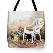 Lawn Chair With Flowers Tote Bag
