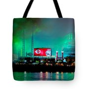 Laser Green Smoke And Reds Stadium Tote Bag