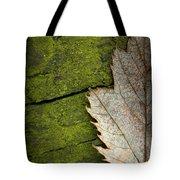 Leaf On Green Wood Tote Bag