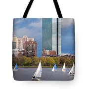 Lean Into It- Sailboats By The Hancock On The Charles River Boston Ma Tote Bag