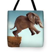 Leap Of Faith Concept Elephant Jumping Into A Void Tote Bag