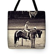 Learning To Ride Sepia Tote Bag
