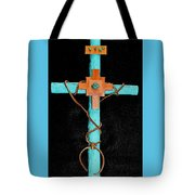 Leather And Stone Cross Tote Bag