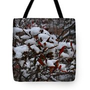 Leaves And Powery Snow Tote Bag