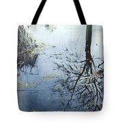 Leaves And Reeds On Tree Reflection Tote Bag