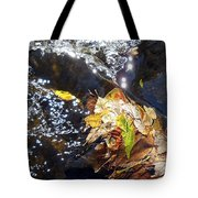 Leaves In River Tote Bag
