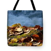 Leaves On Rock By River Tote Bag