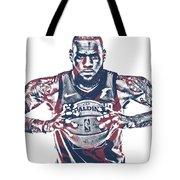 Lebron James Cleveland Cavaliers Pixel Art 54 Tote Bag