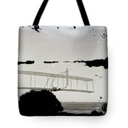 Left View Of Wilbur Gliding Kitty Hawk Lifesaving Station And Weather Bureau Buildings In Distance K Tote Bag