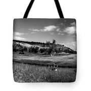 Legend Of The Bear Wyoming Devils Tower Panorama Bw Tote Bag
