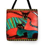 Legend Of The Siamese - Cat Art By Dora Hathazi Mendes Tote Bag