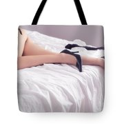 Legs Of Sexy Half-naked Woman Lying In Bed Tote Bag