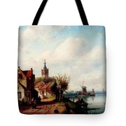 Leickert Charles A Village Along A River A Town In The Distance Tote Bag