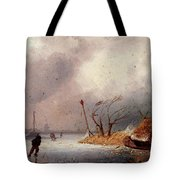 Leickert Charles A Winter Landscape With Skaters On A Frozen Waterway Tote Bag