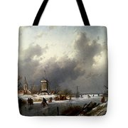 Leickert Charles Henri Joseph A Frozen Winter Landscape With Skaters Tote Bag