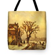 Leickert Charles Skaters In A Frozen Winter Landscape Tote Bag