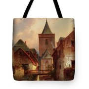 Leickert Charles View In A German Village With Washerwomen Tote Bag