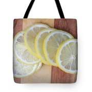 Lemon Slices On Cutting Board Tote Bag