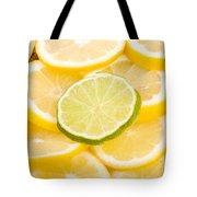 Lemons And One Lime Abstract Tote Bag