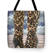 Leopard Boots With Ankle Straps Tote Bag
