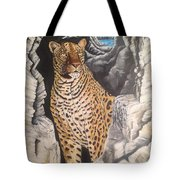 Leopard On The Rocks Tote Bag
