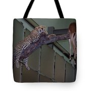 Leopard Tree Cat Preying Tote Bag