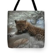 Leopard Tree Hugger Photo Collage Tote Bag