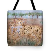 Leopard With Cub Tote Bag