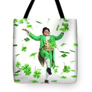 Leprechaun Tossing Shamrock Leaves Up In The Air Tote Bag by Maxim Images Prints