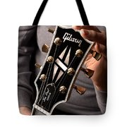 Les Paul - Hands And Gibson Headstock By Gene Martin Tote Bag