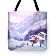 Swiss Mountain Cabins In Snow Tote Bag