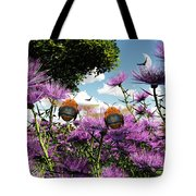 Two Bumblebees Discover The World Tote Bag