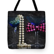 Lets Party Vintage Blue Martini Glasses On Black Sla Tote Bag