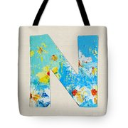 Letter N Roman Alphabet - A Floral Expression, Typography Art Tote Bag