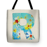 Letter R Roman Alphabet - A Floral Expression, Typography Art Tote Bag