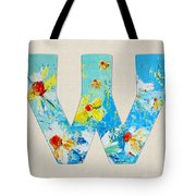 Letter W Alphabet A Floral Expression Tote Bag
